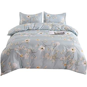 YMY Lightweight Microfiber Bedding Duvet Cover Set, Chic Floral Pattern (Light Blue, Twin)
