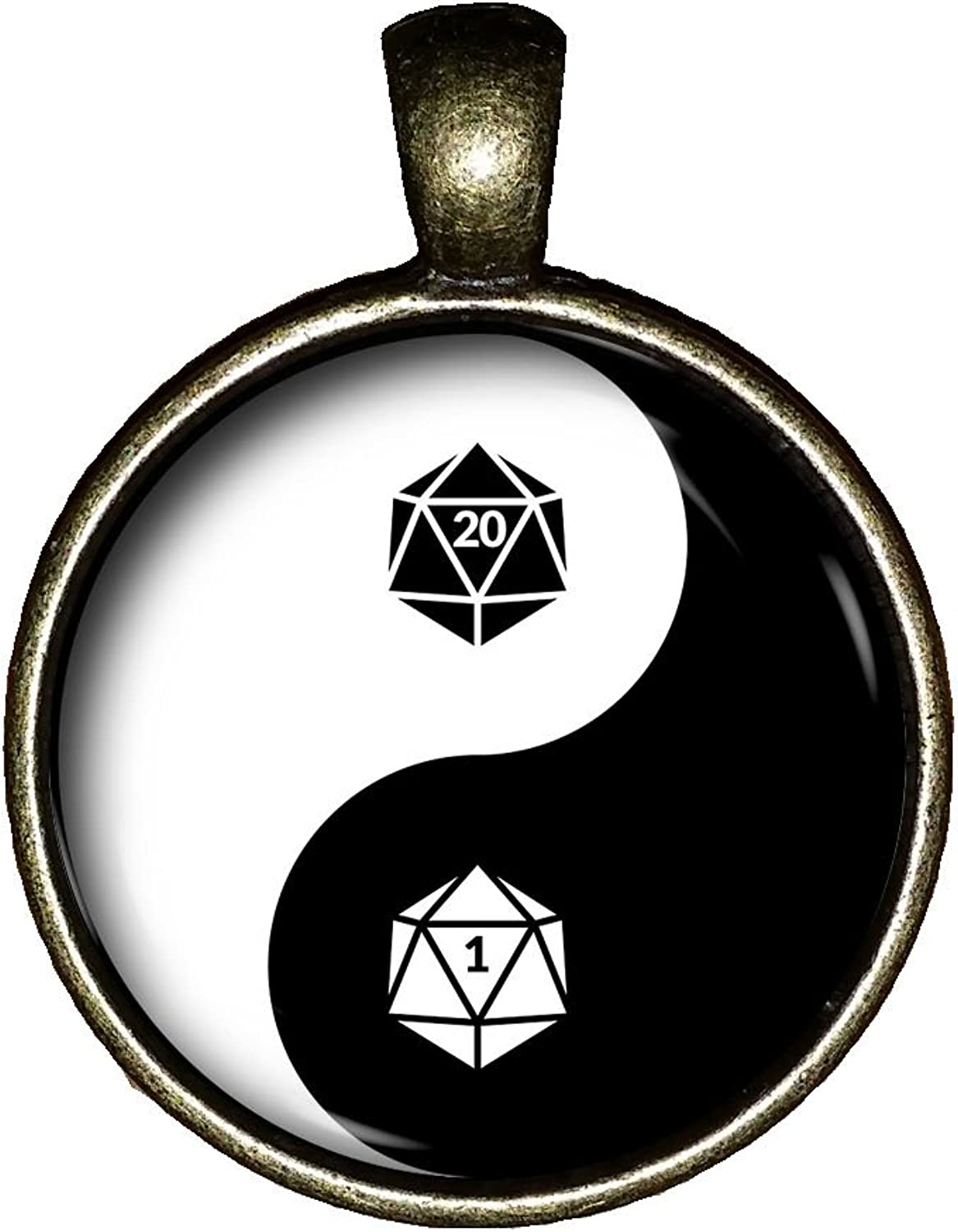 20 Sided dice YIN YANG Icosahedron Necklace Handmade D & D Jewelry Pendant Charms Gift