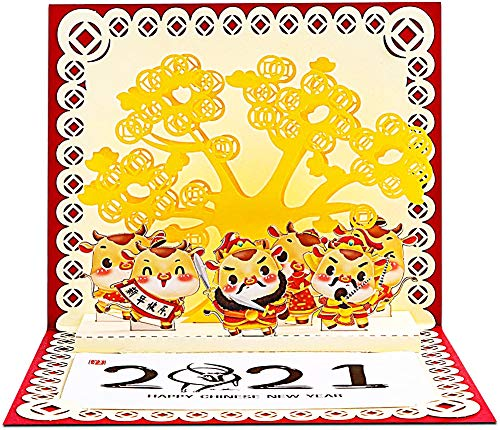 FaCraft Chinese Happy New Year Card 2021 Pop Up Greeting Card with Envelopes,Cute 3D Chinese Card,2021 Year of the Ox Greeting Cards Gift for Family Kids Colleagues Friends