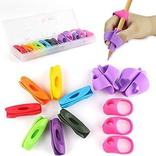 鉛筆もちかた Firesara 鉛筆持ち方 ペングリップ 右手用 矯正 シリコン 鉛筆ホルダー 虹色 鉛筆キャップ はじめてセット 子供 大人 疲労減軽 12個セット