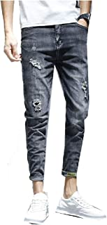MogogN Mens Distressed Relaxed-Fit Slim Fit Washed Middle Waist Denim Pants