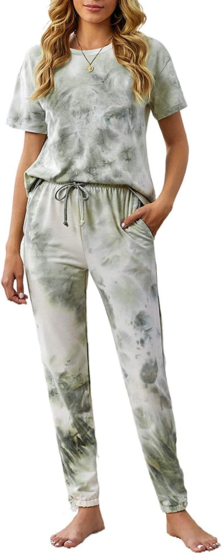 Bdcoco Womens Long Sleeve Tops and Pants Pajamas Set Two Pieces Tie Dye Printed Nightwear Loungewear