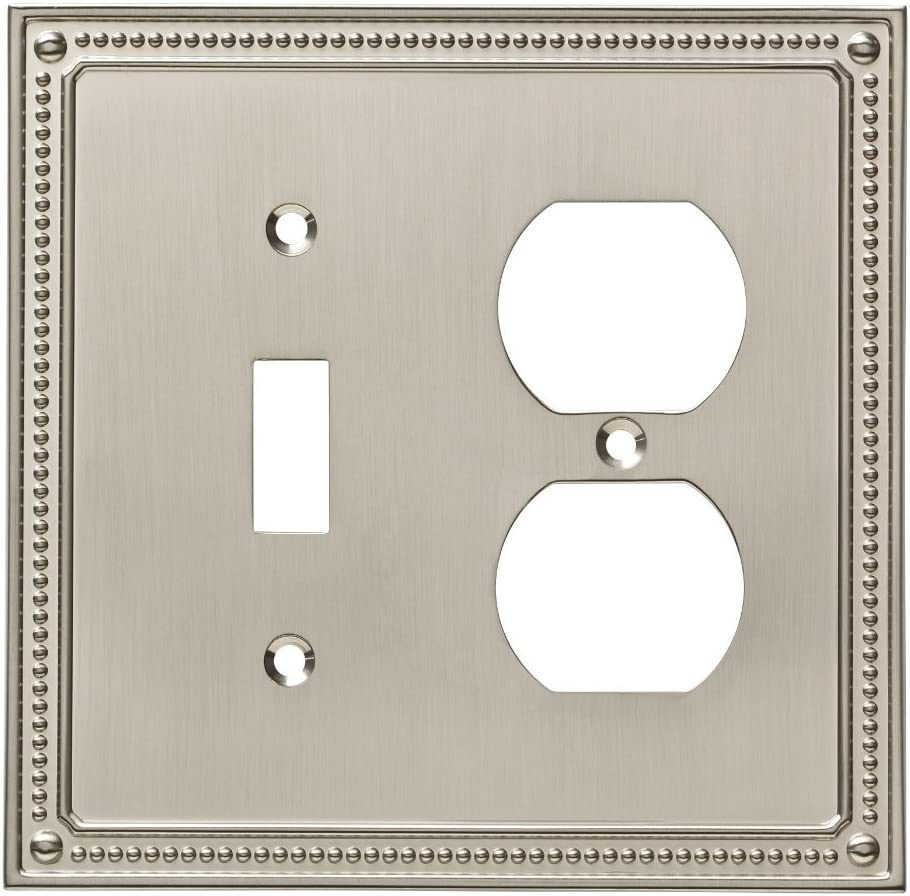 Satin Nickel Beaded Single Decorator Wall Plates 3 Count 3-Pack