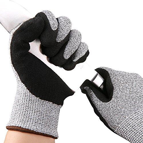 Luxebell 耐切創手袋 耐切創レベル5 ゴム付き滑り止め手袋 軍手 1ペア入 (Lサイズ)