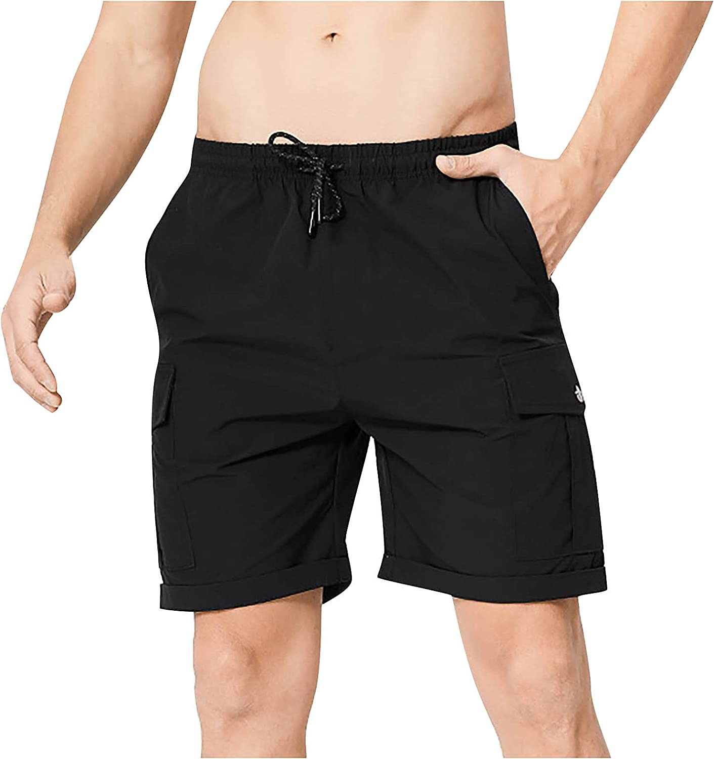 acction Men's Lightweight Cargo Shorts,Relaxed Fit Casual Shorts Multi-Pocket Outdoor Resilience Time Tooling Shorts Pants