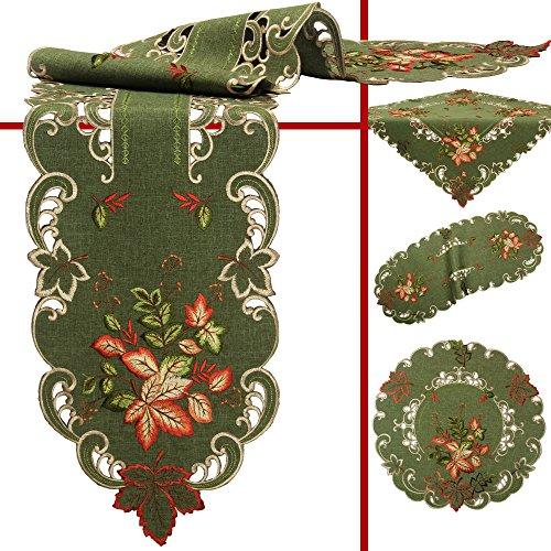 Quinnyshop Herfstbladeren Tafelkleed Tafeloverlay Doily Kussensloop Verschillende maten Polyester, Groen