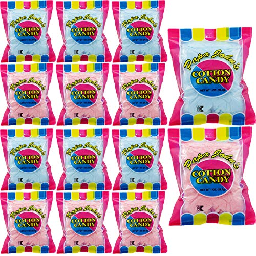 Fruidles Cotton Candy Blue and Pink Party Flavors Supplies Birthday Treats for Kids, Kosher, 1oz Bag (12-Pack)