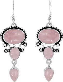 Genuine Gemstone 925 Silver Overlay Handmade Fashion Dangle Earrings Jewelry