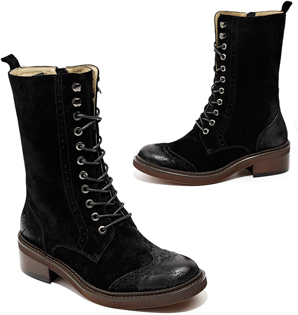 Beau Today Women's Suede Leather Boots Brogue Mid-Calf Snow Booties