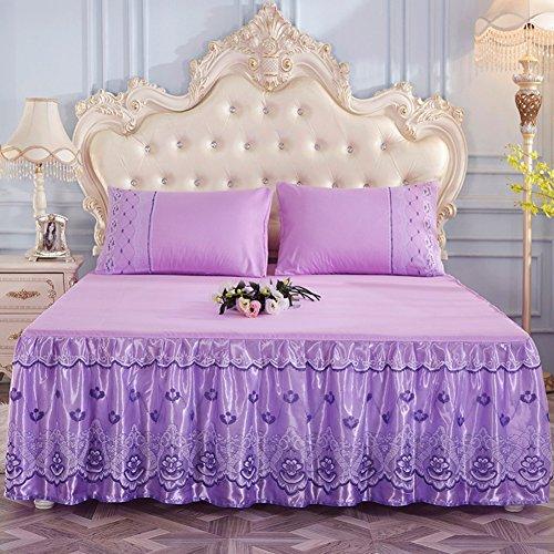 Spitze Bett Rock, Bett Volant Bestickt Tagesdecke Mit rüschen Hotel qualität Faltenresistent und ausbleichen beständig-lila 2 x Kissenbezug 48x74cm