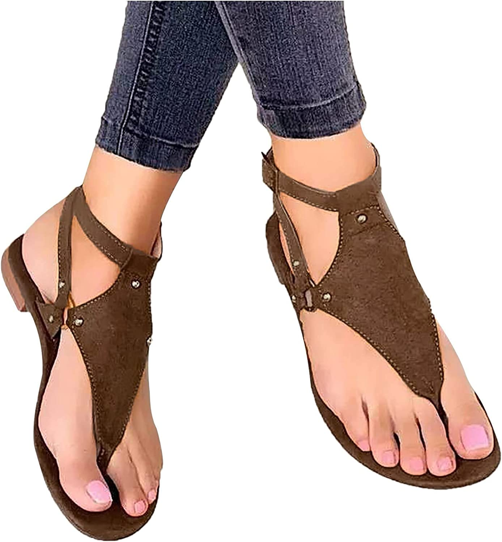 Eduavar Sandals for Women Dressy, Womens Tassel T-Strap Roman Gladiator Sandals Summer Casual Flip Flops Thong Sandals
