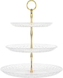 3 Tier Cupcake Stand Cake Dessert Fruit Wedding Event Party Display Tower Plate New Birthday Party Decoration 30X36.5Cm,Gold