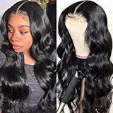 CHEETAHBEAUTY Body Wave Lace Front Wigs Human Hair 150% Density Brazilian 13x4 HD Transparent Lace Front Human Hair Wigs For Black Women Pre Plucked with Baby Hair Natural Black (18inch)