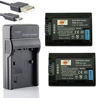 DSTE NP-FH50 Li-Ion Batería (2 Paquetes) Traje y Cargador Micro USB Compatible con Sony DSLR-A230 DSLR-A290 DSLR-A330 DSLR-A380 DSLR-A390 DSC-HX1 DSC-HX100V DSC-HX200V HDR-TG5V