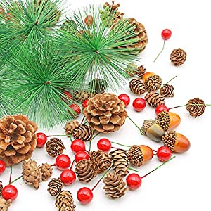 DomeStar 120PCS Pine Cone Set, Artificial Acorns Berry Craft and Natural Pinecones Ornament Pine Picks Fake Fruit Decor Winter Decorating Kit