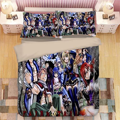 Gorgeous Store Conjunto De Cama De Anime - Cubierta De La Cola De Hadas Y Dos Fundas De Almohadas, Impresión Digital 3D, Conjunto De Tres Piezas, 100% Microfibra A003 (Color : B, Size : 260x220cm)