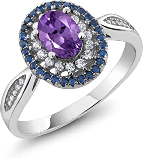 Sterling Silver Oval Purple Amethyst Women's Ring 1.35 cttw (Available 5,6,7,8,9)
