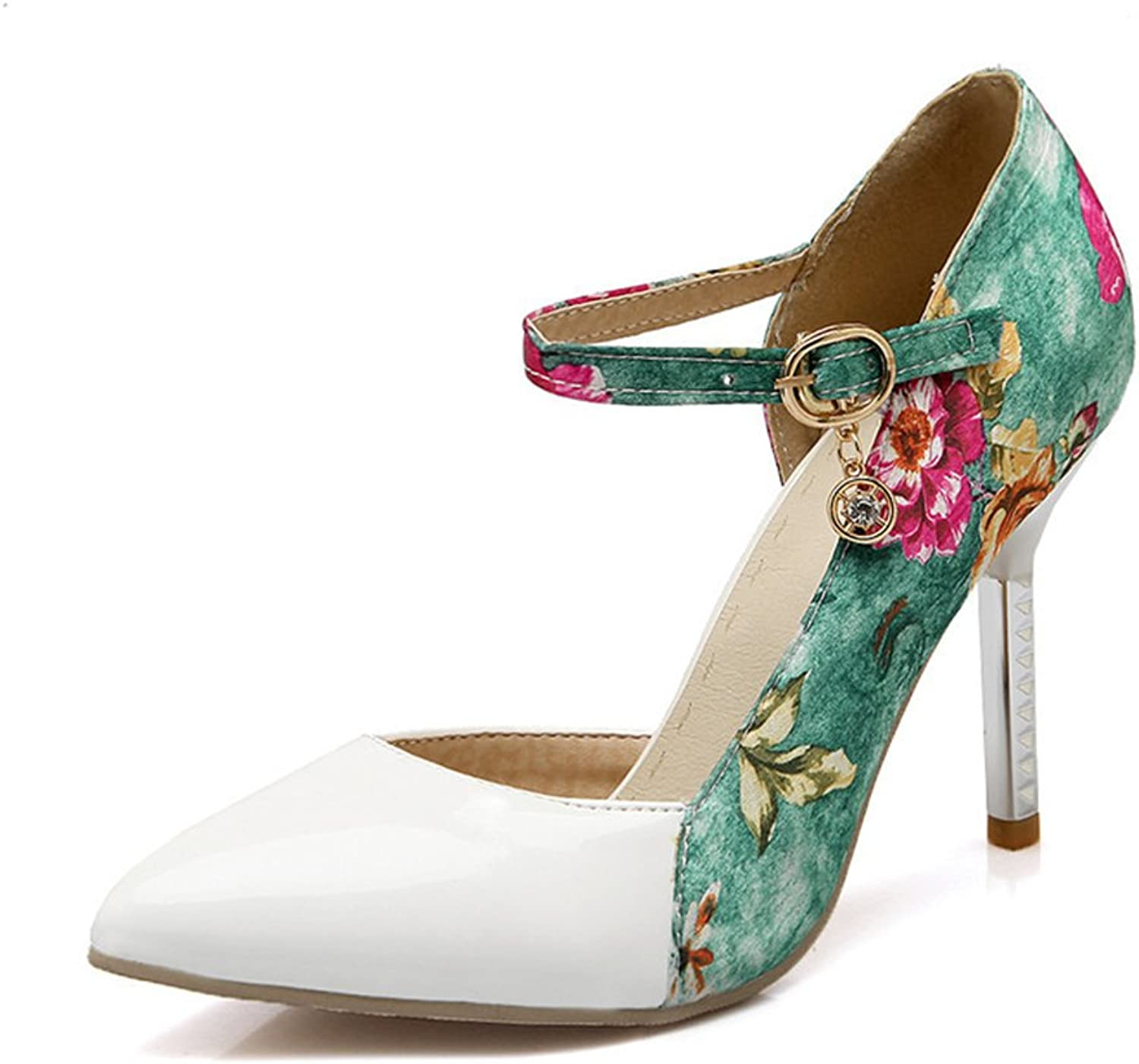 Eleganceoo Sexy Women Print Floral Large Size Closed Pointed Heels Toe high Heels shoes