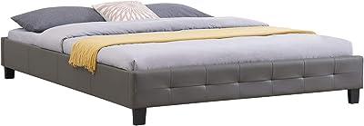IDIMEX Lit Double futon pour Adulte Gomera avec sommier Queen Size 160 x 200 cm Couchage 2 Places / 2 Personnes, revêtement synthétique Gris