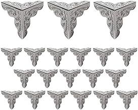 LUCY WEI 20 stuks 25 x 25 x 25 mm driezijdige antieke metalen beschermhoeken meubelhoeken, voor kisten, boxen, meubels, pl...