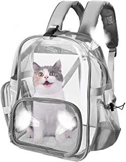 SlowTon Clear Pet Backpack, Transparent Cat Backpack Carrier for Small Dog Kittens Breathable Mesh Window Travel Carrier Bag Weight Up to 10lbs for Puppy Kitty Travel Walking Hiking Camping