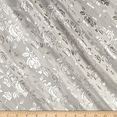 Ben Textiles Rose Satin Jaquard Silver Fabric By The Yard