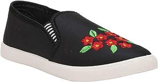 Claptrap Women Black Flower Print Casual Shoes