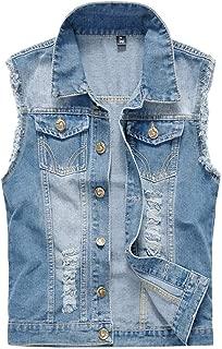 Mens Denim Vest Casual Cowboy Jacket Ripped Holes Sleeveless Tops