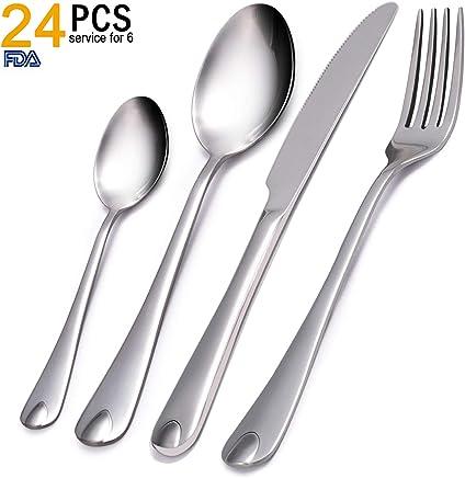 VKEEW 24-Piece Silverware Set Service for 6 Stainless Steel Cutlery Set for Home Kitchen Hotel Restaurant Tableware,  Dishwasher Safe