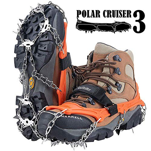 Uelfbaby Crampons Upgraded 19 Spikes Ice Snow Grips Traction Cleats System Safe Protect for Walking Jogging or Hiking on Snow and Ice Fit S/M/L/XL/XXL Shoes/Boots
