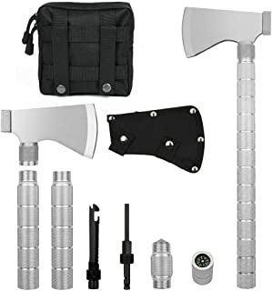IUNIO Camping Axe Multi-Tool Hatchet Survival Kit 17 inch Folding Portable Camp Ax for Outdoor Hiking Backpacking Hunting Emergency