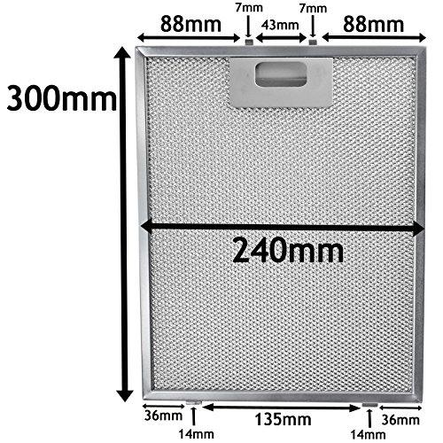 SPARES2GO Universal Dunstabzugshaube Metall Mesh Fettfilter für Küche Abluftventilator Vent (Silber, 300 x 240 mm)