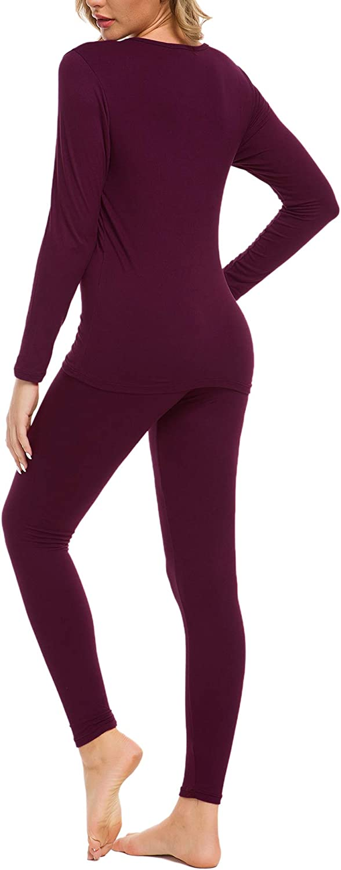 cuello redondo iWoo Conjunto de ropa interior t/érmica para mujer capa base superior y parte inferior ultra suave manga larga