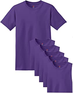 Hanes Men's Comfortsoft 6 Pack Crew Neck Tee - Purple - L