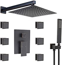 Bathroom Luxury 12 Inch Oil Rubbed Bronze Rain Mixer Shower Faucet System with Body Spray Jets Combo Complete Set Wall Mounted