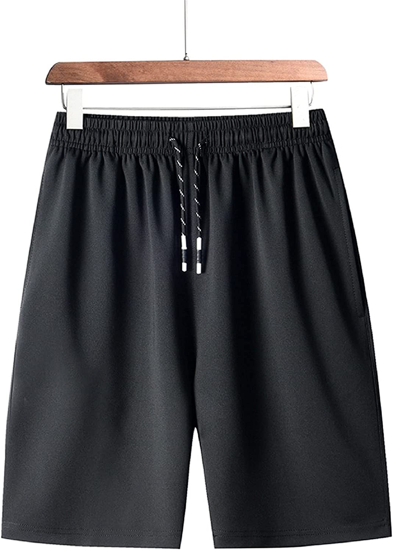 APOKIOG Mens Shorts Summer Swim Trunks Solid Swimming Shorts Drawstring Casual Boardshorts Swimming Trunks Ports Shorts