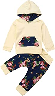 Zoe's wardrobe Baby Girls' Hoodie+ Floral Pant Set Leggings 2 Piece Outfits