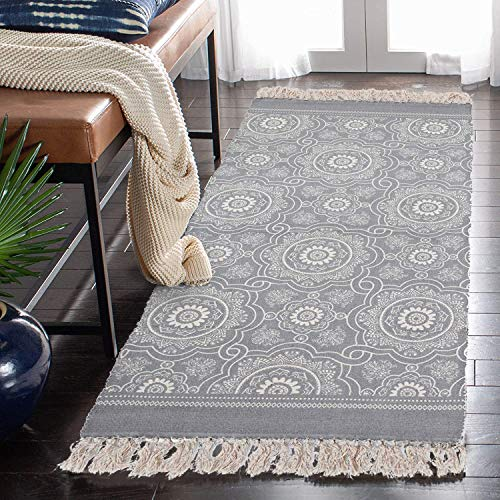 SHACOS Baumwollteppiche mit Quasten Waschbar Handgewebte Vintage Teppiche Grau, Perfekt für Küche,Wohnzimmer,Dekor (60 x 130cm)