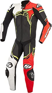 Alpinestars GP Plus V2 Leather Suit, Distinct Name: Black/White/Red Fluo/Yellow Fluo, Gender: Mens/Unisex, Primary Color: Black, Size: 42, Apparel Material: Leather, EURO Size: 52