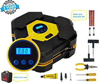 Voroly Heavy Duty Automatically Shut Off Car Air Compressor Tyre Inflators Pump Digital with Puncture Repair Kit and Carry...