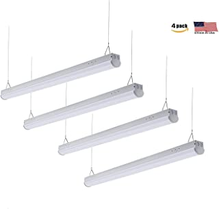 Cortelco 4FT Slim Linear LED Shop Light Fixture, 40W, 5000K, 5200Lumens, Damp Rated,LED Garage Ceiling Light Fixture, 120-277V, Basement with ETL&DLC, 4 Pack- Perfect for Garage and Shed Lighting