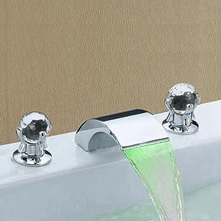 Minamata houlian shop wastafel waterkraan LED kleur waterval wastafel waterkraan warm en koud split LED kleur wastafel kra...
