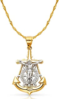 14K Two Tone Gold Jesus Crucifix Anchor Pendant with 1.2mm Singapore Chain Chain Necklace