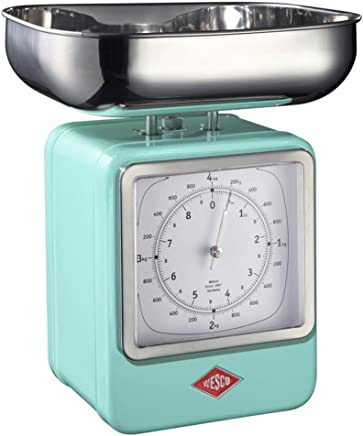 (Mint) - Wesco 322 204 51 Retro Scales with Clock, Stainless Steel, 15 x 13 x 27 cm Mint
