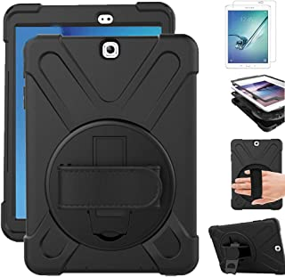 Gzerma for Samsung Galaxy Tab S2 9.7 Case with Screen Protector, Hand Strap, Rotating Stand for Kids, Heavy Duty Defender Protective Kickstand Cover for Samsung Tab S2 9.7