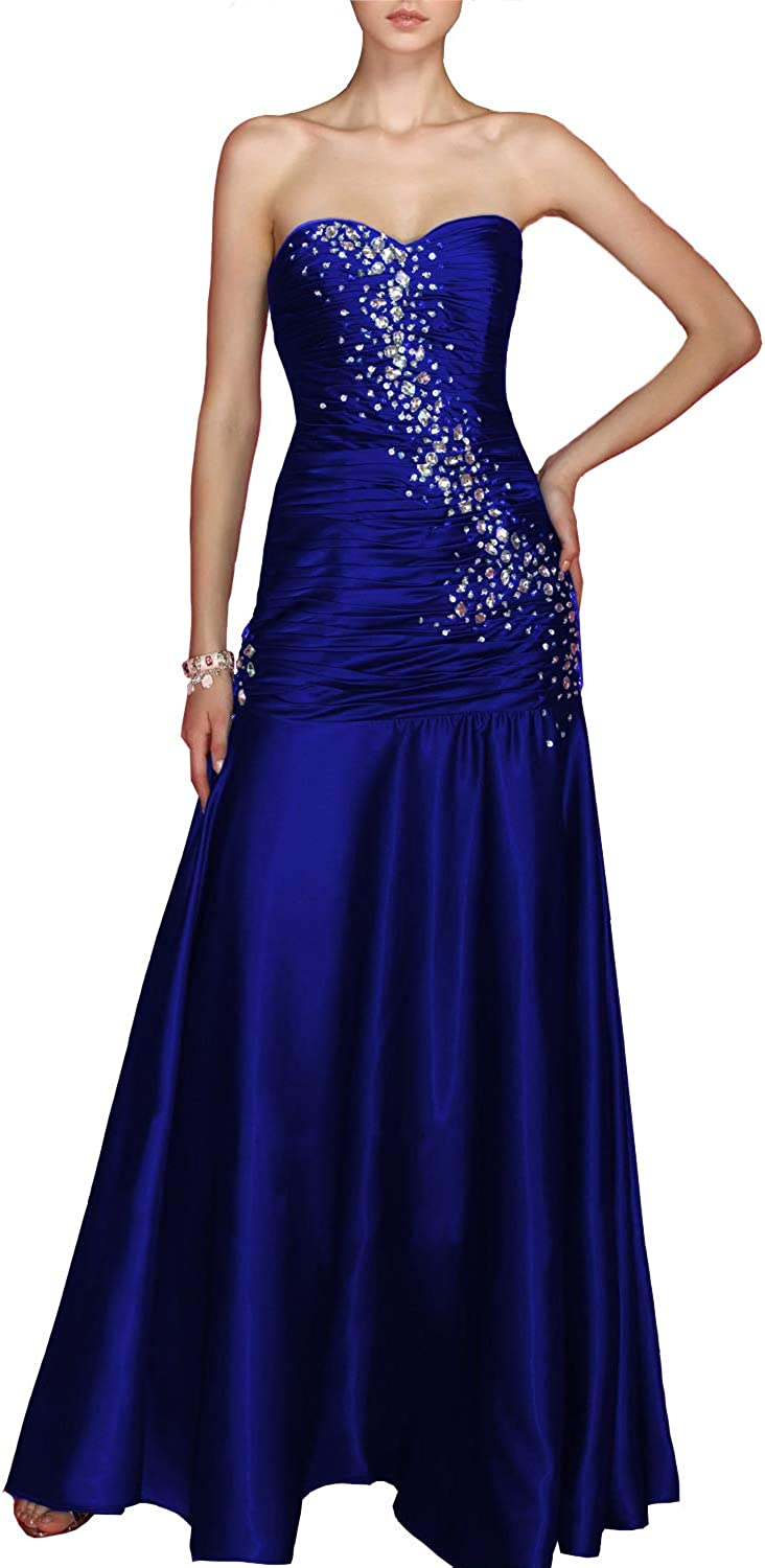 CCBubble Long Satin Mermaid Prom Dresses Strapless Pleats Beaded Formal Evening Party Gowns