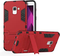 Galaxy A7 2017 Case, VMAE Full Body Hybrid Armor Cover, Shockproof Non-slip Robot Protective Case With Stand for Samsung Galaxy A7 2017 / A720 - Red