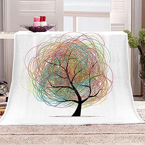 árbol Manta para Sofa 3D línea Reversible Manta Estampata Cálida y Suave Manta de Oficina Mantas sólida para Cama sofá 180x200cm