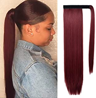 SEIKEA Wrap Around Ponytail Straight Hair Extension Clip in 28 Inch Synthetic Hairpiece - Wine Red
