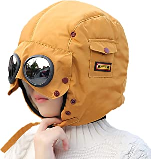 Winter Windproof Trooper Trapper Hat for Kids, Toddler Boy Girls Snow Ski Aviator Earflaps Cap with Goggles, Fleece Lined